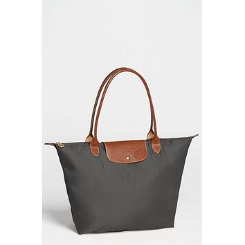 NEW AUTH LONGCHAMP Le Pliage Large Shoulder TOTE GUNMETAL GRAY Cosmetic Case Set
