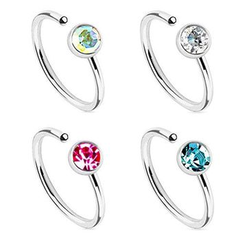 BodyJ4You Nose Ring Hoop Tragus Earring Aqua Pink CZ Black Rose Gold Stainless Steel 20G Piercing Set 4 Pieces
