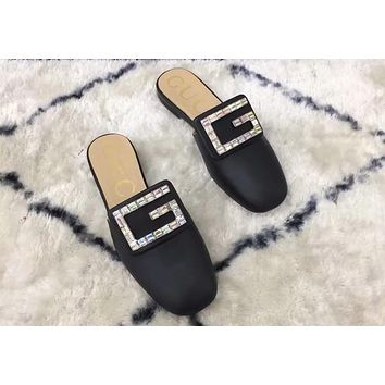 GUCCI 2019 early spring new fashion rhinestones semi-lost wear no heel lazy shoes Mules shoes Black