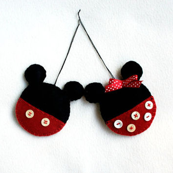 Mouse girl and boy felt ornament set of 2 handmade, black red polka dots, kids decor, Christmas ornament, Birthday gift, nursery decor
