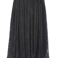 Black Lace Embroidery Pleated Skirt
