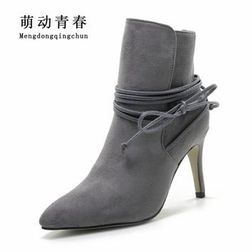 Winter Boots 2016 Womens Lace Up Pointed Toe Suede Boots Sexy High Heels Ankle Boots Autumn Shoes Woman Fur inside Zapatos Mujer