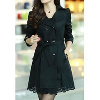 Black Lace Trim Long Sleeves Dust Coat with Sash