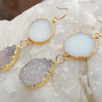 Druzy Earrings White Purple Amethyst 14K Gold Crystal Quartz Dangle Drop Drusy - Free Shipping Jewelry