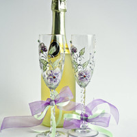 Wedding Glasses Toasting Flutes Hand Painted Floral Violet Green Silver Swarovski Crystals set of 2