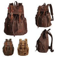 AUGUR Unisex Vintage Canvas Backpack Rucksack School Bag Satchel Hiking Bag