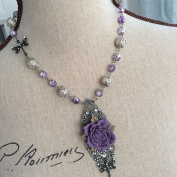 Dragonfly and Purple Cabochon Rose Pendant Necklace