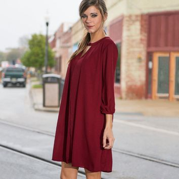Casual V-Neck Bungundy 3/4 Sleeve Loose Mini Dress