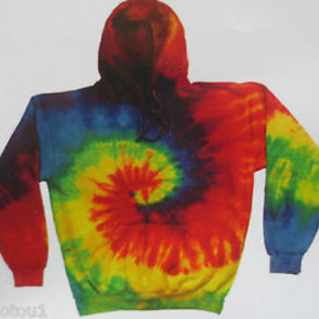 Unisex, Tie Dye Multi-color Hoodie, spiral design. Sm/M/L/XL/2XL/3XL adult.