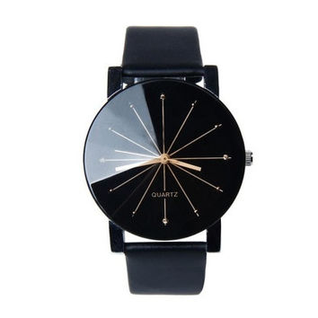 1PC Fashion Men's Quartz Dial Clock Leather Casual Wrist Watch Round Analog Watch [9221430020]