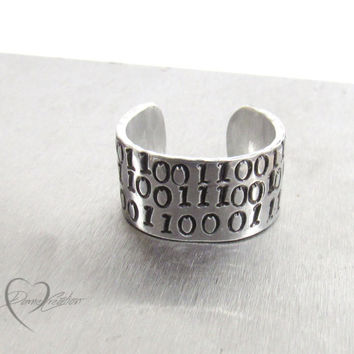 Geek Ring - Handstamped Ring - Tech Ring - Geek Jewelry - Computer Code Ring - Tech Jewelry - Geekery Gifts - Tech Gifts - Mens Gifts