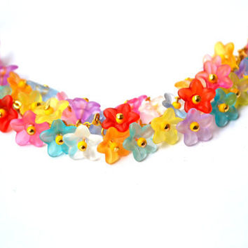 Bright colorful bellflowers bracelet - acrylic flowers