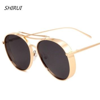 Retro Steampunk Sunglasses Men sunglasses Women Retro Vintage Oval Mirrored Metal Punk Gothic Sun Glasses oculos de sol feminino