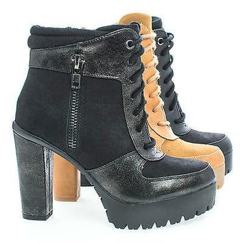 Verb By Delicious, Lace Up Dual Fabric Lug Sole Platform Block Heel Ankle Boots