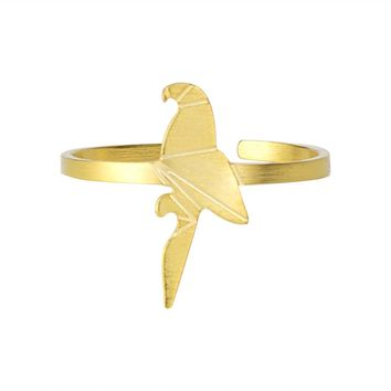Gold Silver Color Origami Bird Rings For Women Pet Parrot Jewelry 2017 New Stainless Steel Adjustable Bague Femme Friend Gifts