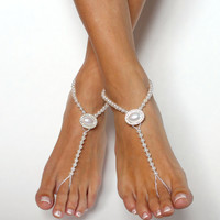 Snow White Pearl Barefoot Sandals