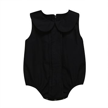 Newborn Infant Baby Girls Peter Pan Collar Romper Sleeveless Jumpsuit Clothes Summer Outfits