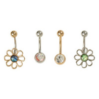 14G Steel Daisy Opal CZ Navel Barbell 4 Pack