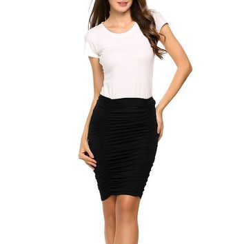 Mia Ruched High Waisted Knee Length Skirt - Black