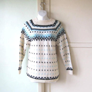 Fresh Cream/Black/Blue Knit Ski Sweater; Big Warm Pullover; Women's Medium High Collar Snow Bunny/Cabin Jumper