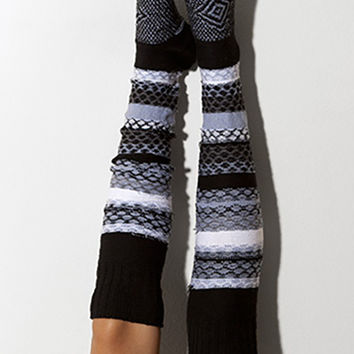 Pucker Stripe Thigh High Socks Scandinavian Pattern