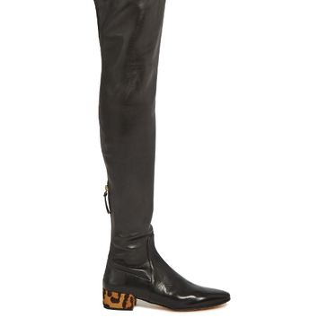 Over-the-knee leather and calf-hair boots | Francesco Russo | MATCHESFASHION.COM US
