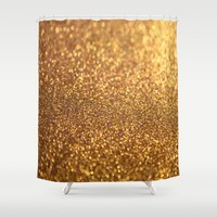 Golden Glitter Shiny Shower Curtain by WonderfulDreamPicture