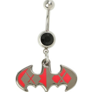 DC Comics 14G Steel Harley Quinn Batman Logo Navel Barbell