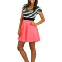 Neon Pink Dress With Striped Top