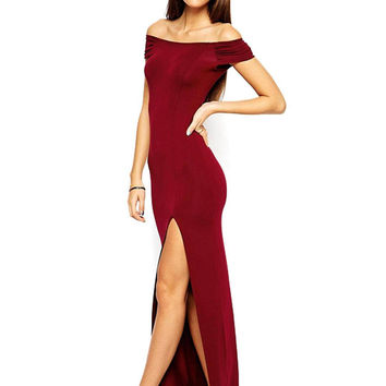 Red Maxi Dress With Off Shoulder
