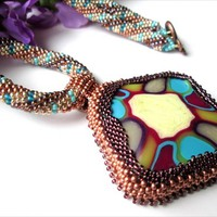 Stained Glass Illusion Pendant Hand Beaded Blue, Copper, Gold Necklace