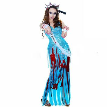 New quality Halloween costume suit sexy female ghost party clothes blue long dress sequin costume horror devil play suit