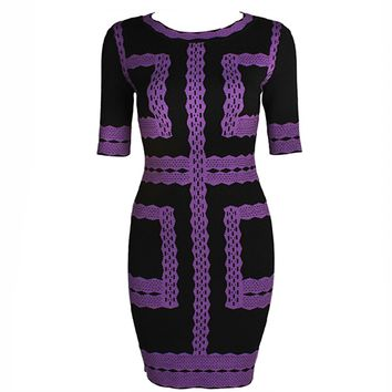 Fashion Nobel Slim Geometric Pencil Dress
