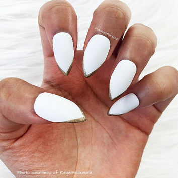 White Stiletto Faux Nails * Gold Tips * Stiletto Nails * Fake Nails * Press On Nails * White Nails * Matte Nails * Gloss Nails