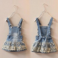 6m-5T Summer Baby Girls Clothes Kids Overalls Bib Lace Denim Jeans Suspender Skirts Kawaii Outwear Toddler Shorts Clothing