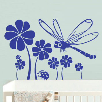 Wall Vinyl Sticker Decals Decor Art Bedroom Flowers Dragonfly Baby Kids Nursery (z710)