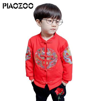 Kids winter clothes set chinese style child tang suit kids Traditional  Dragon Toddler Jumpsuit Costume Baby Boys Girl OutfitP20