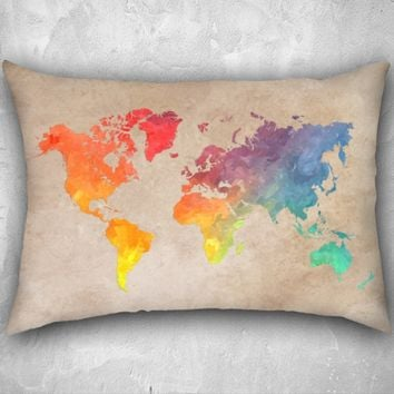World Map colored 26x20 26x20 pillow