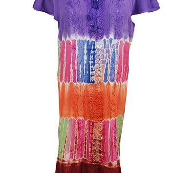 Mogul Interior Womens Aloha Beach Dresses Rayon Embroidered tie dye Tank Dress L: Amazon.ca: Clothing & Accessories