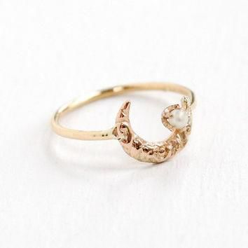 Antique 14k Yellow Gold Crescent Moon Seed Pearl Ring - Victorian Art Nouveau Repousse