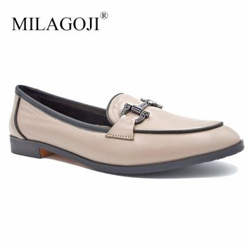 MILAGOJI Womens Square Heel Shoes Elegant Round Toe Ladies Office Career Pumps Metal Ring Genuine Leather 2018 New Russian Size
