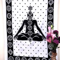 Twin White Chakra Yoga Budha Meditation Tapestry Wall Hanging Decor Beach Blanket Throw Bedspread Bedsheet