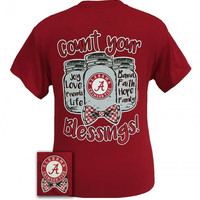 Alabama Crimson Tide Blessings Mason Jar Bow Girlie Bright T Shirt