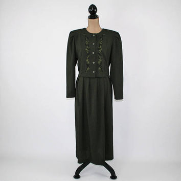 Long Sleeve Maxi Dress Women Large Embroidered Olive Green Dress Long Day Dress Size 14 Dress Miss Dorby Vintage Clothing Womens Clothing