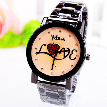 Gift Awesome Designer's Stylish Good Price New Arrival Great Deal Trendy Heart Men Stainless Steel Band Watch [8863746439]