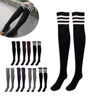 Knee Thigh High Socks 7 Styles Striped/ Solid