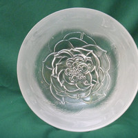 Pressed Glass Bowl Frosted Rose Crate and Barrel 1980