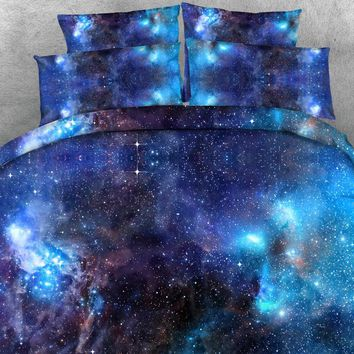 3pcs HD Digital Print Beautiful Galaxy / universal / planet etc. printed duvet cover set queen size bedding sets
