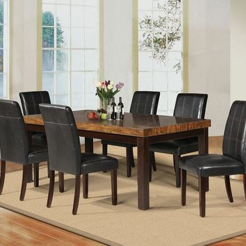 7 pc Deisy collection espresso finish wood and brown faux marble dining table set
