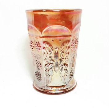 Vintage Carnival Glass Goblet/Marigold Orange Butterfly Drinkware